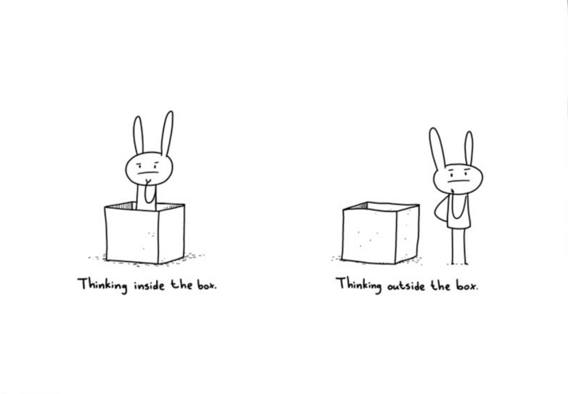 "A bunny in a box, while thinking ""inside the box"" and a bunny standing outside of a box while thinking ""outside the box""."